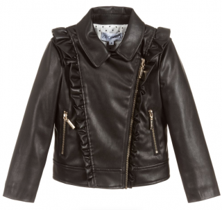 Simonetta Kids Ruffled Faux Leather Jacket