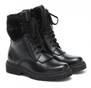 Moncler Faux Fur Trimmed Patty leather ankle boots