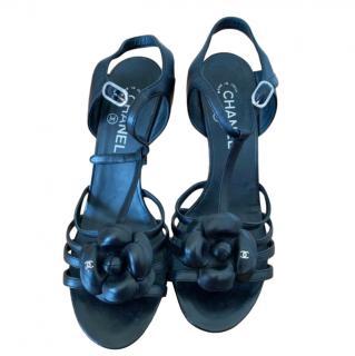Chanel Black Patent Camellia Sandals