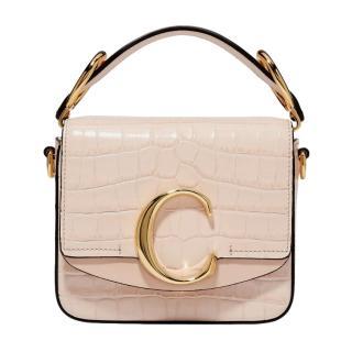 Chloe Croc Embossed Mini C Bag in Cement Pink