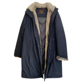 Woolrich Navy Fur Trimmed Hooded Puffer Coat