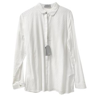 Mulberry White Stretch Jacquard Blouse
