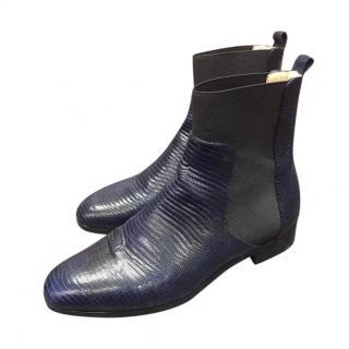 Jimmy Choo Navy Lizard Embossed Boots