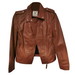 Each x Other Brown Leather Asymmetric Biker Jacket