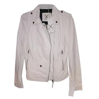 Each x Other Chalk White Leather Asymmetric Biker Jacket
