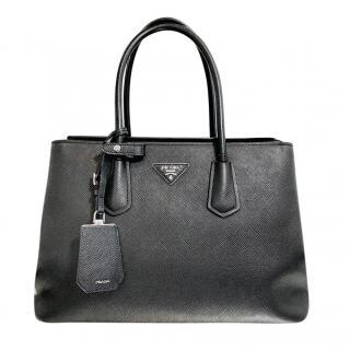 Prada Saffiano Leather Twin Lock Black Shoulder Bag
