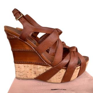 Miu Miu Nappa Washed Coco Wedge Sandals