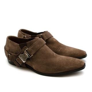 Prada Brown Suede Western Inspired Shoes with Harness