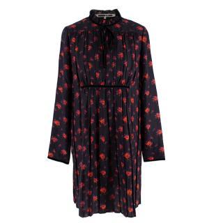 McQ Alexander McQueen Black Floral Print Silk Pleated dress