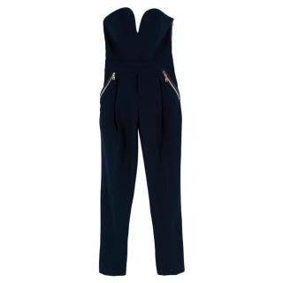 Three Floor Navy Blue Strapless Jumpsuit