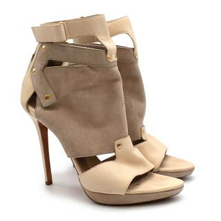 Herve Leger Beige Leather & Suede Cut-out Heeled Sandals