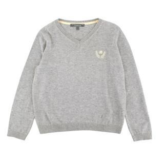 Bonpoint Grey Cotton V Neck Knit Sweater