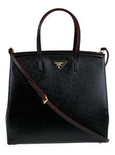 Prada Saffiano Leather Black Tall Shoulder Bag
