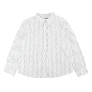 Bonpoint White Patterned Cotton Long Sleeve Shirt