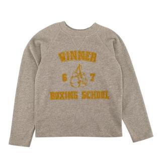 )Bonpoint Grey Cotton Winner Yellow Motif Sweater