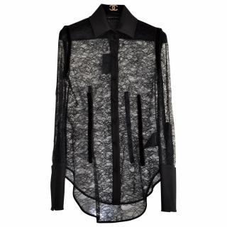 Alexander Wang Semi-Sheer Lace Black Shirt