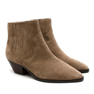 Ash Sand Swede Western Inspired Ankle Boots