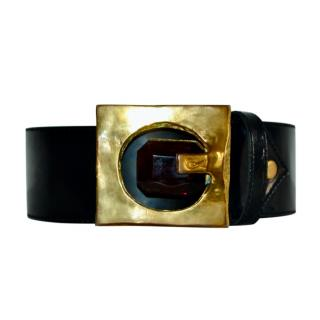 Christian Lacroix Crystal Embellished Black vintage leather belt