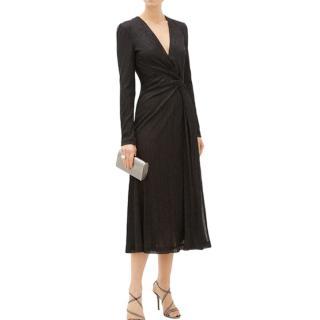 Galvan Black Metallic Knit Plisse Midi Dress