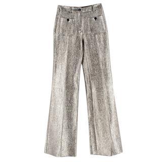 Roberto Cavalli Pale Gold Metallic High Waisted Trousers