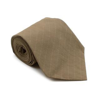 Jil Sander Taupe Pinstripe Cotton Tie