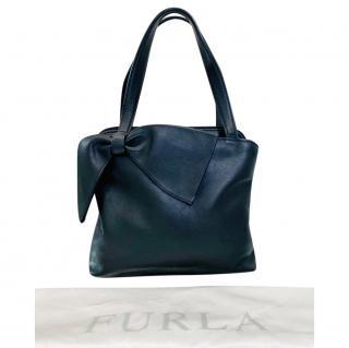 Furla Black Leather Bow Detail Shoulder Bag