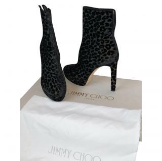 Jimmy Choo Velvet Devore Leopard Majesty Ankle Boots