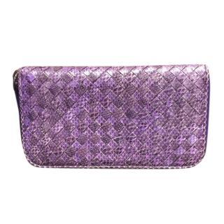 Bottega Veneta Purple Leather & Watersnake Intrecciato Purse