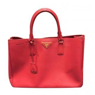 Prada Red Saffiano Leather Tote Bag