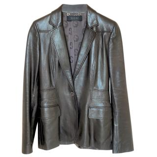 Gucci Chocolate Brown Tailored Leather Jacket