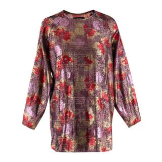Isabel Marant Red & Pink Lurex & Silk Long Sleeve Top