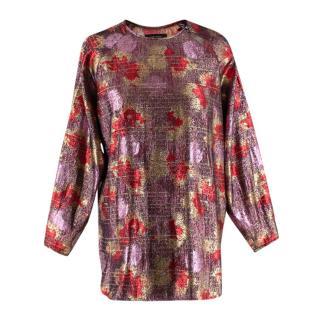 Isabel Marant Red & Pink Lurex & Silk Long Sleeve Top