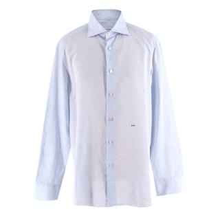 Donato Liguori Blue Cotton & Linen Long Sleeve Bespoke Shirt