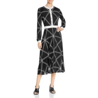 Tory Burch Anja Womens Printed Midi Dress