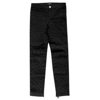 Chanel Washed Black Stitch Quilt Jeans