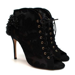 Carolina Herrera Black Lace & Suede Embroidered Open Toe Ankle Boots