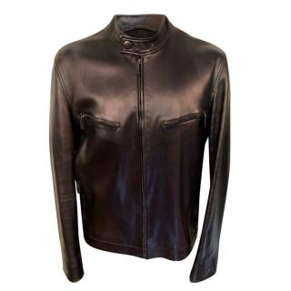 Gucci Black High Neck Leather Jacket