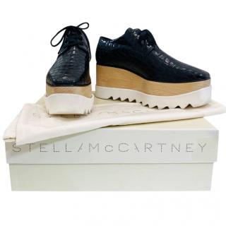 Stella McCartney Navy Crocodile Embossed Elyse Platform Sneakers