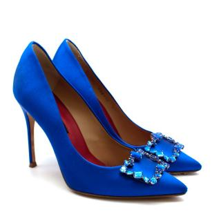 Carolina Herrera New Season Blue Satin Pumps with Crystal Buckle