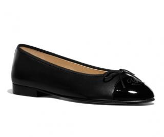 Chanel Lambskin & Patent Calfskin Black Ballerinas