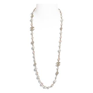 Chanel Long Necklace, Metal, Glass Pearls & Diamante