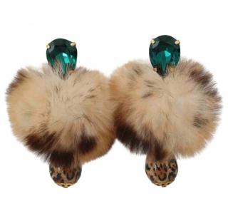 Dolce & Gabbana Fur Pom Pom Crystal Drop Earrings