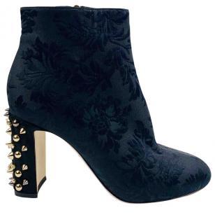 Dolce & Gabbana black brocade studded heel booties