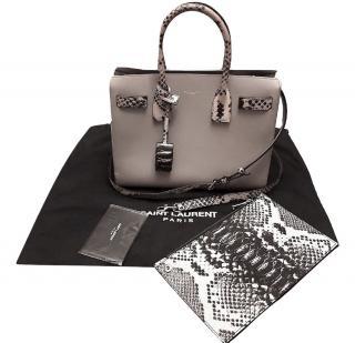 Saint Laurent Grey Calf Leather & Python Medium Sac Du Jour Tote