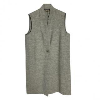 Max Mara Grey Wool Longline Knit Gilet