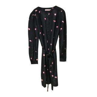 See by Chloe Printed Black Belted Dress
