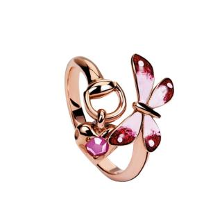 Gucci Ruby & Enamel Butterfly Flora Rose Gold Ring