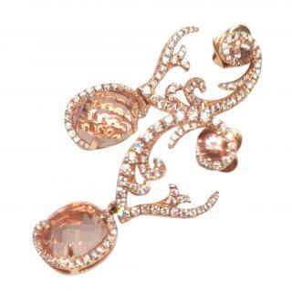 William & Son 18ct Rose Gold Morganite Diamond Earrings