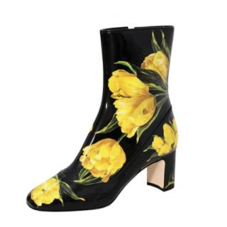 Dolce & Gabbana Black & Yellow Tulip Print Ankle Boots