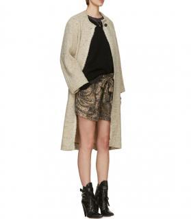 Isabel Marant Lurex Snakeskin Print Silk Belted Shorts